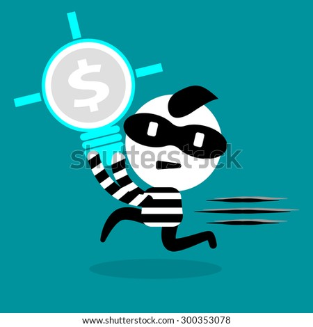 thief stealing bulb, idea, money, and intellectual right - stock vector