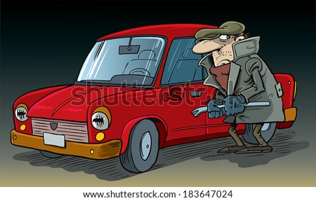 Thief steals car - stock vector