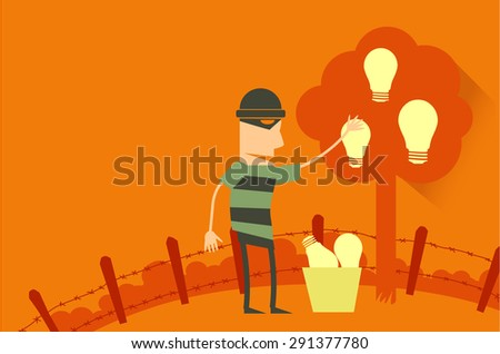 Thieves harvest ideas from the tree. - stock vector