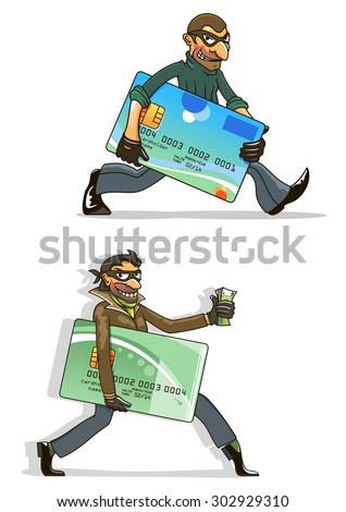 Thieves or hackers cartoon characters with men in black masks and gloves, with stolen credit cards and money. For criminal or internet fraud concept design - stock vector