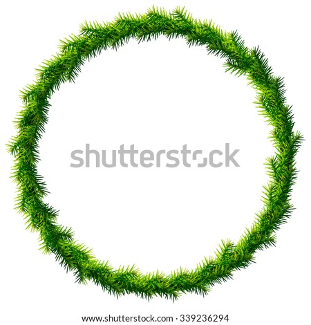 Thin christmas wreath without decoration. Round frame of pine branches isolated on white. Vector image for christmas, new year's day, decoration, winter holiday, design, new year's eve, silvester, etc - stock vector