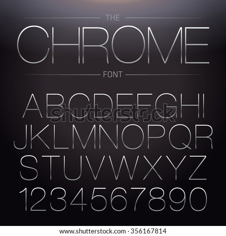Thin Chrome Font. Vector Metallic Alphabet - stock vector