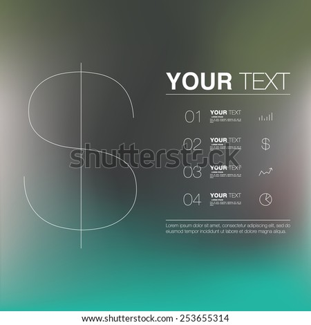 Thin dollar sign with minimal blurred background, infographics, eps 10 stock vector illustration - stock vector