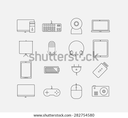 Thin electronic computer device icon set - stock vector