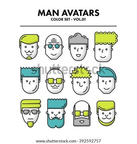 Thin Flat Line Man Avatars Icons - Color Set 01. Infographic or webdesign graphic resource. Profile picture. Vector Illustration