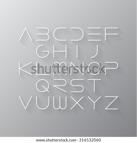 Thin font. Futuristic font. Cosmic Font. Vector alphabet set. Elegant light font. Minimal. Latin alphabet letters. Hipster font, typeface, typography, typewriter. - stock vector