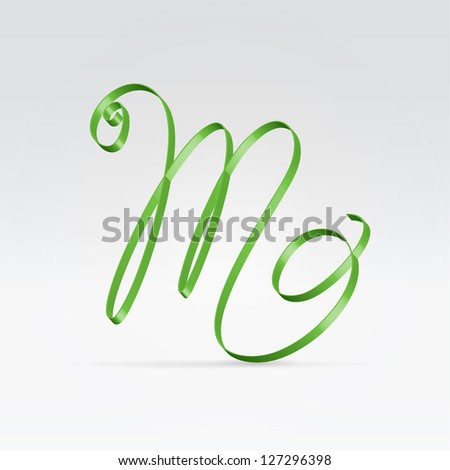 Thin green satin ribbon typeface capital M letter hanging over light background - stock vector