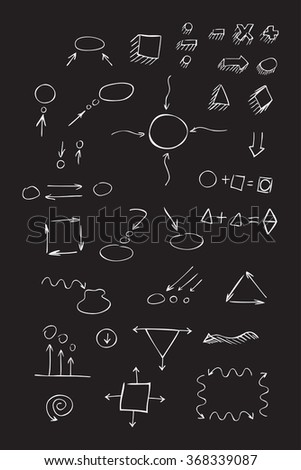 Thin hand drawn arrows, talk bubble, geometric shapes with shadow, mathematical signs painted white pen on black background. Doodle, sketch. Vector set.