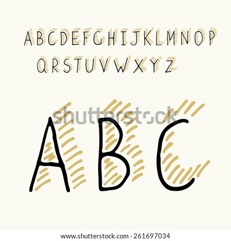 Thin Hand-drawn Hipster Shadowed Alphabet - stock vector
