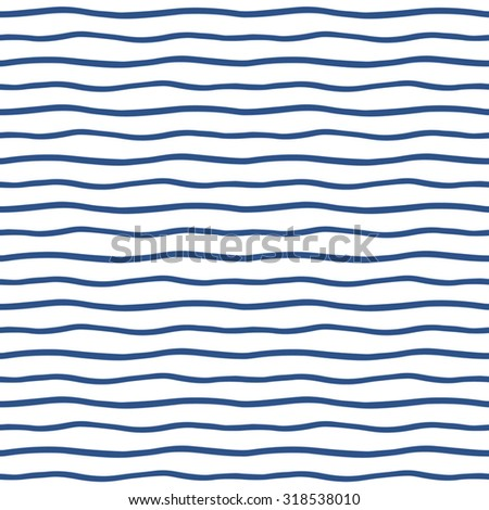 Thin hand drawn wavy stripes seamless vector pattern. Navy blue waves backdrop. Marine striped abstract background. Wavy uneven streaks.  - stock vector