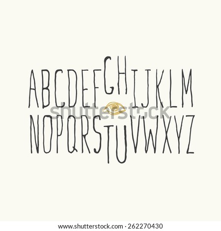 Thin Hipster Alphabet Hand-drawn. - stock vector