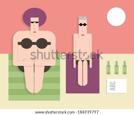 Thin husband with a fat wife on the beach, flat style, vector cartoon illustration