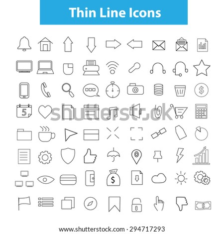 Thin icons vector.