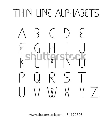 thin line and narrow English alphabets or letters in abstract and unique shapes and in uppercase - vector icons - stock vector