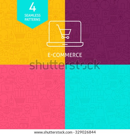 Thin Line Art Business E-Commerce and Finance Pattern Set. Four Vector Online Shopping and Money Design and Background in Trendy Modern Line Style. - stock vector