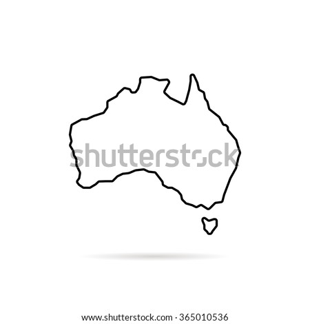 Thin Line Australia Map Shadow Concept Stock Vector - Country outlines