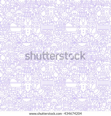 Thin Line Baby White Seamless Pattern. Vector Website Design And Seamless  Background In Trendy Modern