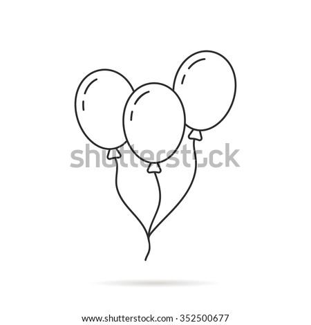 thin line balloon icon with shadow. concept of valentine day, recreational, recreation park item, festival, toy. isolated on white background. linear style trend modern logo design vector illustration
