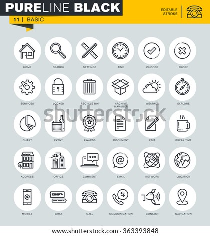 Thin line basic icons set for website and mobile website and apps, with editable stroke.  - stock vector