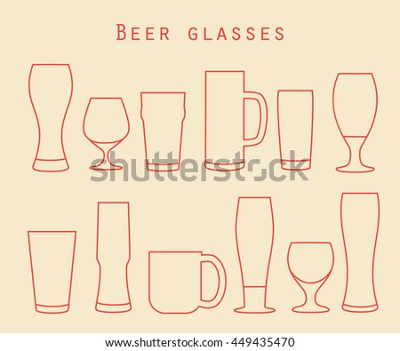 Thin line beer glassware set in flat style