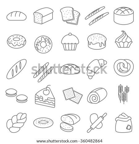 Thin line bread and bakery vector icon set