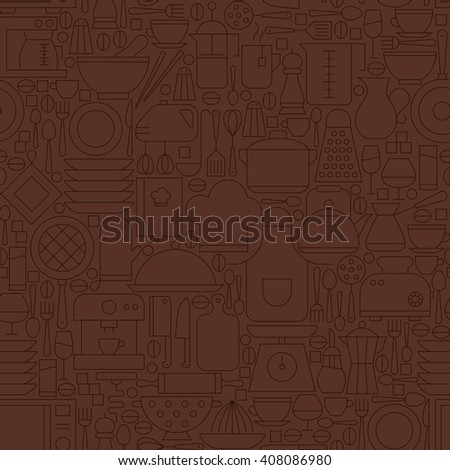 Thin Line Brown Kitchenware and Cooking Seamless Pattern. Vector Website Design and Seamless Background in Trendy Modern Outline Style. Kitchen Utensils and Appliances. - stock vector
