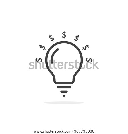 thin line bulb with dollar sign. concept of investor, research, currency, venture, development, donate, sponsor. flat style trend modern company logotype design vector illustration on white background