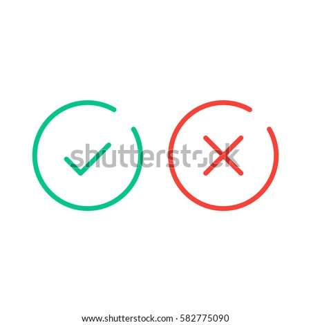 Thin Line Check Mark Icons Green Stock Vector Hd Royalty Free