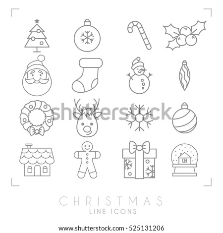 gingerbread house black thin line christmas icons set gingerbread stock vector 525131206