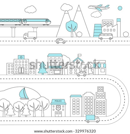 Thin line city background, infographics design elements, vector illustration. Town architecture, commercial building and street facilities, shops and cafe, isolated. Vector illustration - stock vector