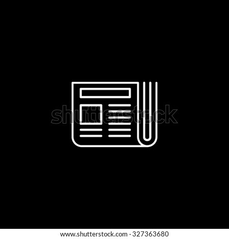 Thin Line Clean Series. Single Icons. White Icons on Black Background. News Paper. - stock vector
