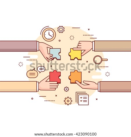 Thin line colorful vector illustration of hands gathering together puzzle pieces. Concept for teamwork, corporate business workflow, working process, searching solution isolated on white - stock vector