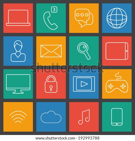 Thin line computing icons set. computer, gaming and mobile devices. UI flat color vector. - stock vector