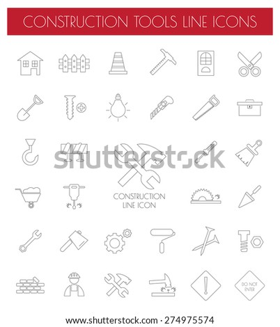 Thin Line Construction Icons set.vector illustration.