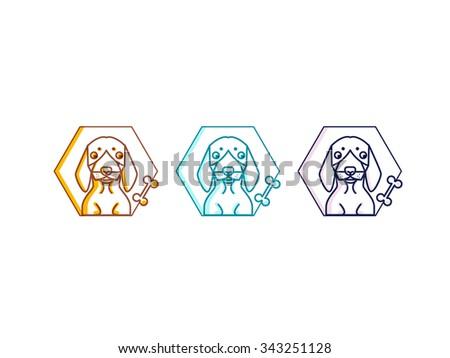 Thin Line Design Template Logotype. Cute dachshund  - stock vector