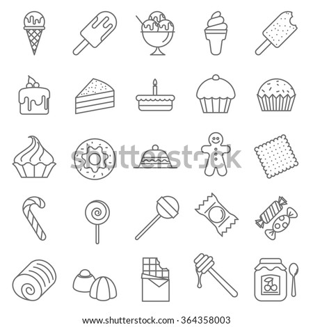 Thin line Dessert and Sweet vector icon set.