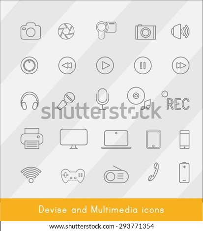 Thin line Device and Multimedia 25 icons.Vector - stock vector