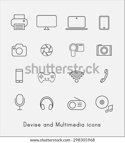 Thin line device icons - stock vector