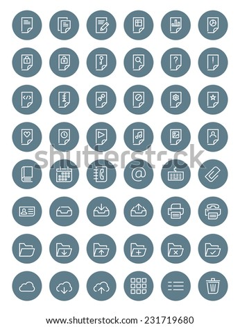 Thin line document icons set for web and mobile apps. White and gray colors flat design. Document, file, folder, cloud, printer, archive - stock vector