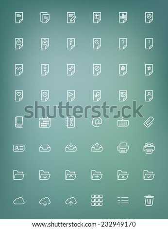 Thin line document icons set for web and mobile apps. White icons on the blurred background. Document, file, folder, cloud, printer, archive - stock vector