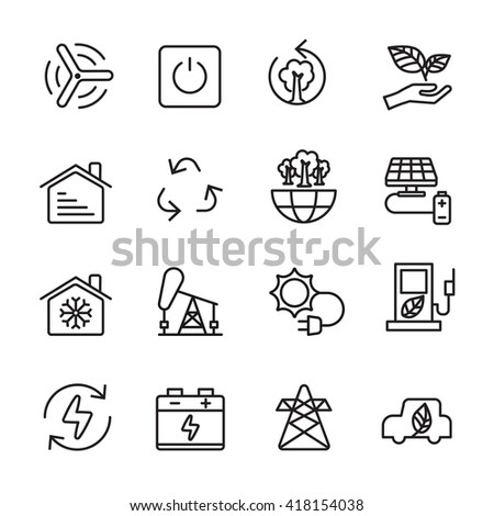 thin line ecology icon set 8, vector eps10
