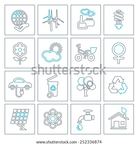 Thin line ecology icons set. Modern design style, vector illustration, isolated on the white background - stock vector
