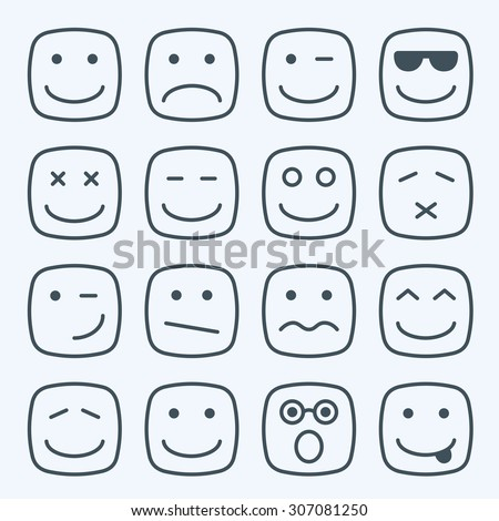Thin line emotional square faces icons - stock vector