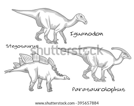 Thin line engraving style illustrations, various kinds of prehistoric dinosaurs, it includes stegosaurus, parasaurolophus, iguanodon - stock vector