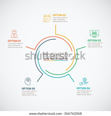 Thin line flat circle for infographic. Template for cycle diagram, graph, presentation and round chart. Business concept with 5 options, parts, steps or processes. Data visualization. - stock vector