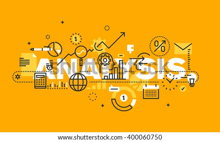 Thin line flat design banner for ANALYSIS web page, financial analysis, accounting, products and services development, business control. Vector illustration concept of word ANALYSIS for web banners. - stock vector