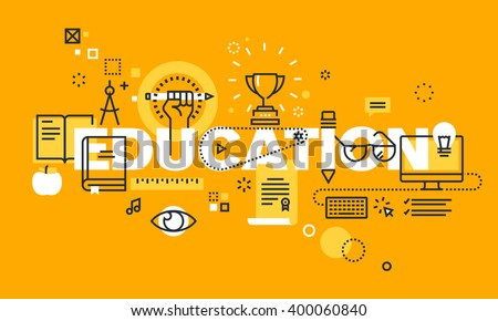Thin line flat design banner for EDUCATION web page, classical and on-line education, increasing knowledge, choice of universities. Vector illustration concept for website and mobile website banners. - stock vector