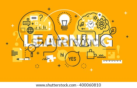 Thin line flat design banner for LEARNING web page, exchange and development of ideas and knowledge. Modern vector illustration concept of word LEARNING for website and mobile website banners. - stock vector