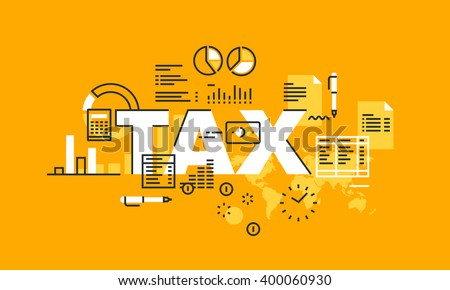 Thin line flat design banner for TAX web page, tax law, banking, taxes information and news, services. Modern vector illustration concept of word TAX for website and mobile website banners. - stock vector