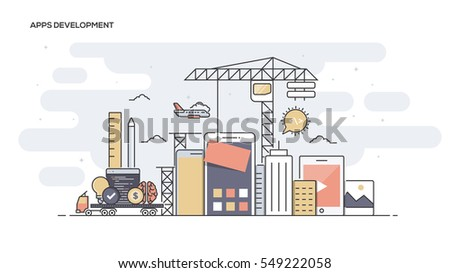 Thin line flat design banner of Apps Development for website and mobile website, easy to use and highly customizable. Modern vector illustration concept, isolated on white background.